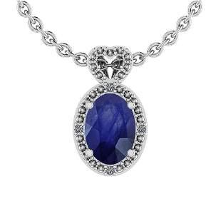 5.80 Ctw VS/SI1 Blue Sapphire And Diamond 14K Yellow Go