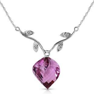 10.77 Carat 14K Solid White Gold Necklace Diamond Twist