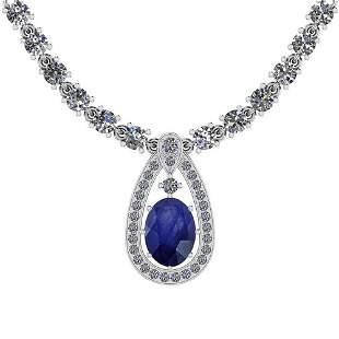 20.93 Ctw I2/I3 Blue Sapphire And Diamond 14K White Gol