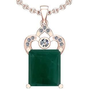 17.05 Ctw VS/SI1 Emerald And Diamond Platinum 14K Rose