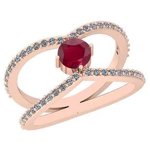 0.88 Ctw Ruby And Diamond I2/I3 14K Rose Gold Vintage S