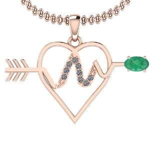 0.57 Ctw VS/SI1 Emerald And Diamond Platinum 14K Rose G