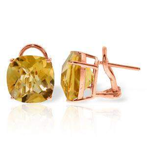 7.2 Carat 14K Solid Rose Gold Cushion Citrine Earrings