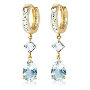 5.62 CTW 14K Solid Gold Huggie Earrings Dangling Aquama