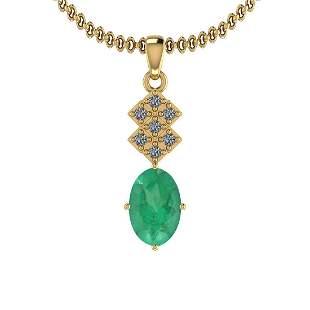 2.12 Ctw VS/SI1 Emerald And Diamond 14K Yellow Gold