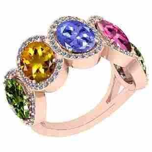 1.50 Ctw I2/I3 Multi Sapphire,Tanzanite And Diamond 10K