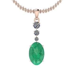 5.57 Ctw Emerald And Diamond I2/I3 14K Rose Gold Victor