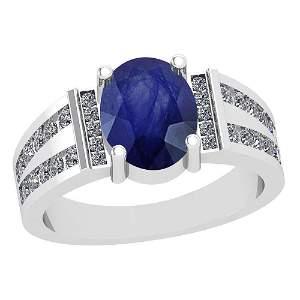 2.68 Ctw VS/SI1 Blue Sapphire And Diamond Platinum Vint