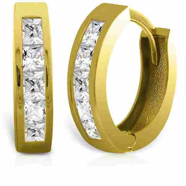 1.58 CTW 14K Solid Gold Princess Zirconia Hoops