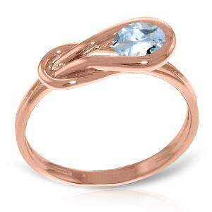 14K Solid Rose Gold Ring with Natural Aquamarine