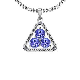 1.60 Ctw VS/SI1Tanzanite And Diamond Platinum Pendant