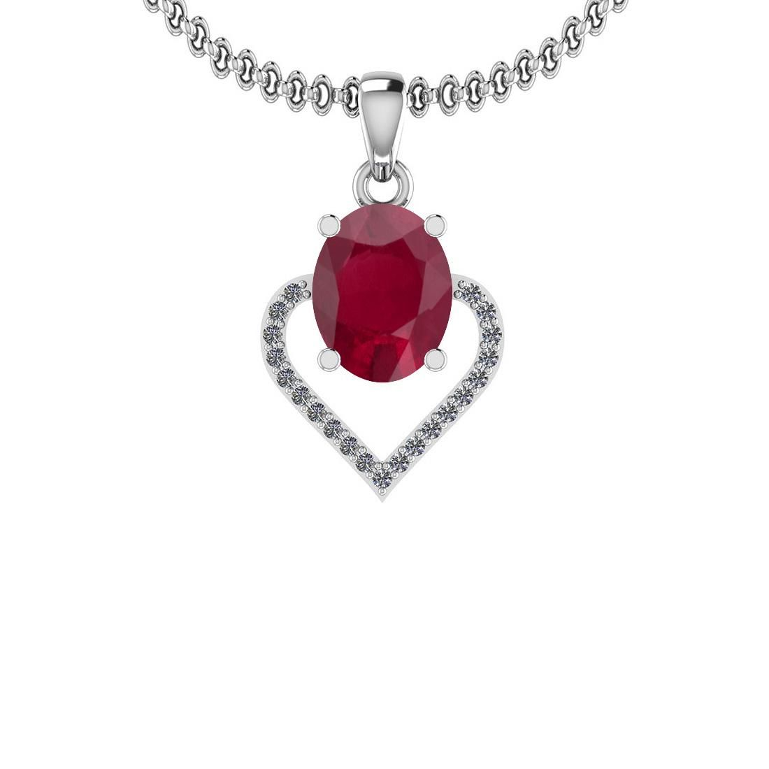 1.40 Ctw I2/I3 Ruby And Diamond 14K White Gold Necklace