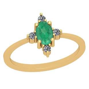 0.60 Ctw Emerald And Diamond I2/I3 14K Yellow Gold Vint