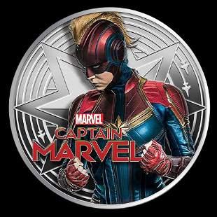 2019 1 oz Silver Captain Marvel Proof With Box & COA