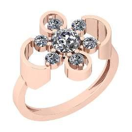 0.91 Ctw VS/SI1 Diamond 14K Rose Gold Ring