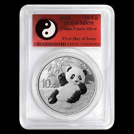 2020 China 30 gram Silver Panda MS-70 PCGS (FDoI, Yin-Y