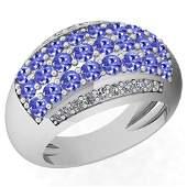 2.10 Ctw VS/SI1 Tanzanite And Diamond Platinum Ring