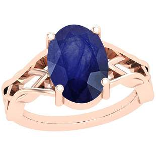 2.50 Ctw Blue Sapphire 14K Rose Gold Solitaire Ring