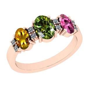 0.95 Ctw I2/I3 Multi Sapphire And Diamond 10K Rose Gold