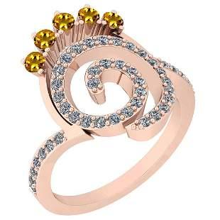 0.96 Ctw VS/SI1 Yellow Sapphire And Diamond 14K Rose Go