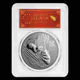 2020 Australia 1 oz Silver Lunar Mouse MS-70 PCGS (FD,