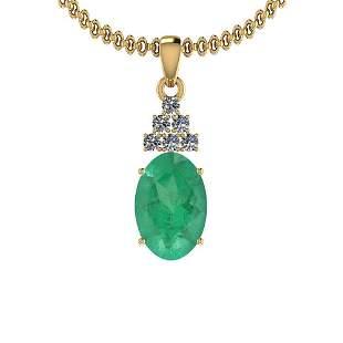 3.24 Ctw Emerald And Diamond I2/I3 14K Yellow Gold Vict