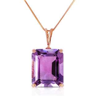 14K Solid Rose Gold Necklace with Octagon Purple Amethy