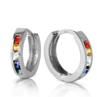 1.3 Carat 14K Solid White Gold Hoop Earrings Multicolor