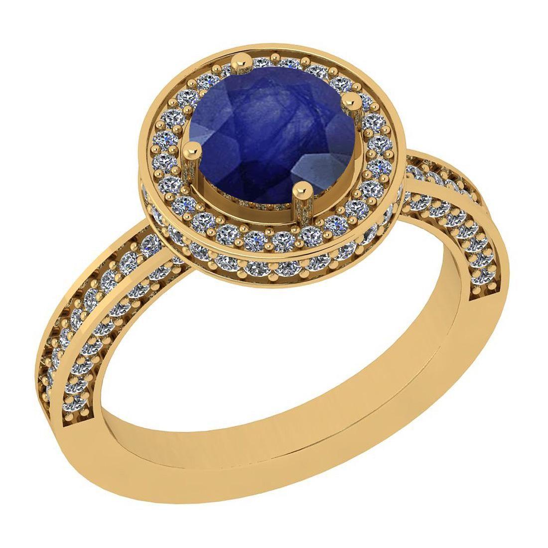 2.13 Ctw I2/I3 Blue Sapphire And Diamond 14K Yellow Gol