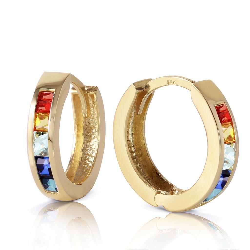 1.3 CTW 14K Solid Gold Hoop Earrings Multicolor Sapphir