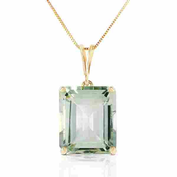 6.5 CTW 14K Solid Gold Necklace Octagon Green Amethyst
