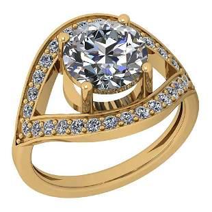 2.30 Ctw Diamond I2/I3 14K Yellow Gold Vintage Style Ha