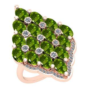 5.95 Ctw Peridot And Diamond I2/I3 10K Rose Gold Vintag