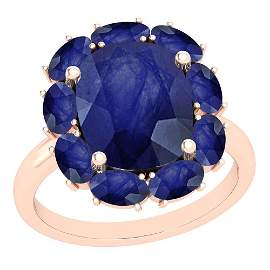 9.25 Ctw Blue Sapphire 14K Rose Gold Vintage Style Ring