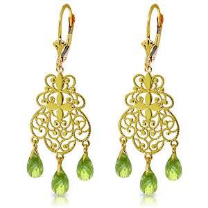 3.75 Carat 14K Solid Gold En Trend Peridot Earrings