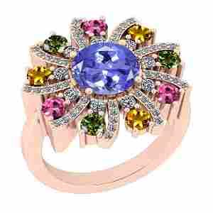 3.39 Ctw SI2/I1 Multi Sapphire,Tanzanite And Diamond 14