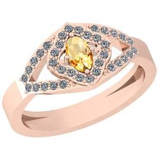 0.47 Ctw Citrine And Diamond I2/I3 10K Rose Gold Vintag
