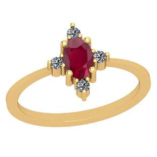 0.60 Ctw Ruby And Diamond SI2/I1 14K Yellow Gold Vintag
