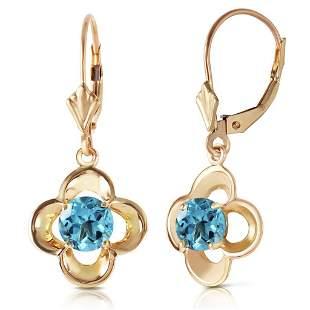 1.1 Carat 14K Solid Gold Sibylline Blue Topaz Earrings