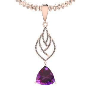 Certified 14.55 Ctw I2/I3 Amethyst And Diamond 14K Rose
