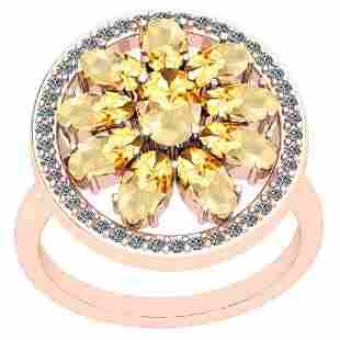 3.00 Ctw Citrine And Diamond I2/I3 14K Rose Gold Ring