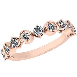 0.60 Ctw Diamond I2/I3 14K Rose Gold Eternity Band Ring