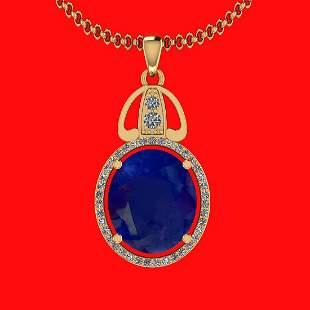 6.26 Ctw VS/SI1 Blue Sapphire And Diamond 14K Yellow Go