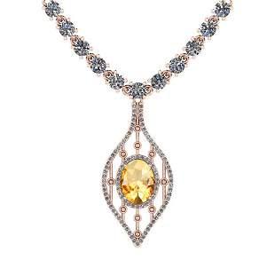7.20 Ctw Citrine And Diamond I2/I3 14K Rose Gold Pendan