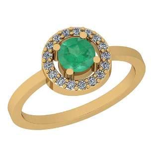 0.62 Ctw Emerald And Diamond I2/I3 14K Yellow Gold Vint