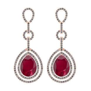 1.92 Ctw Ruby And Diamond I2/I3 14K Rose Gold Dangling