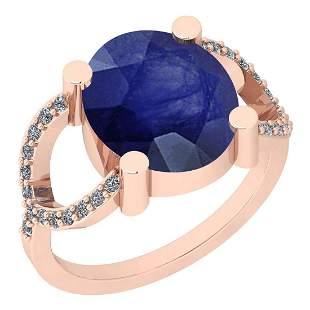 2.77 Ctw I2/I3 Blue Sapphire And Diamond 14K Rose Gold