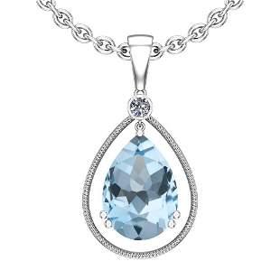 Certified 74.32 Ctw I2/I3 Blue Topaz And Diamond 14K Wh