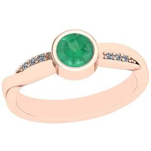 0.54 Ctw Emerald And Diamond I2/I3 14K Rose Gold Vintag