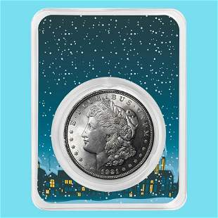 1921 Morgan Silver Dollar Snowy Scene BU